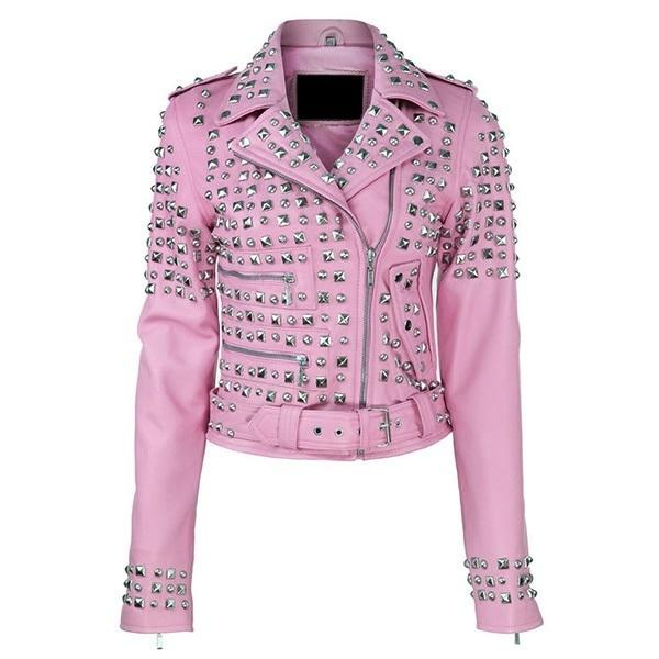 Leather Skin Women Pink Spike Studded Studs Brando Belted Genuine Leather Jacket