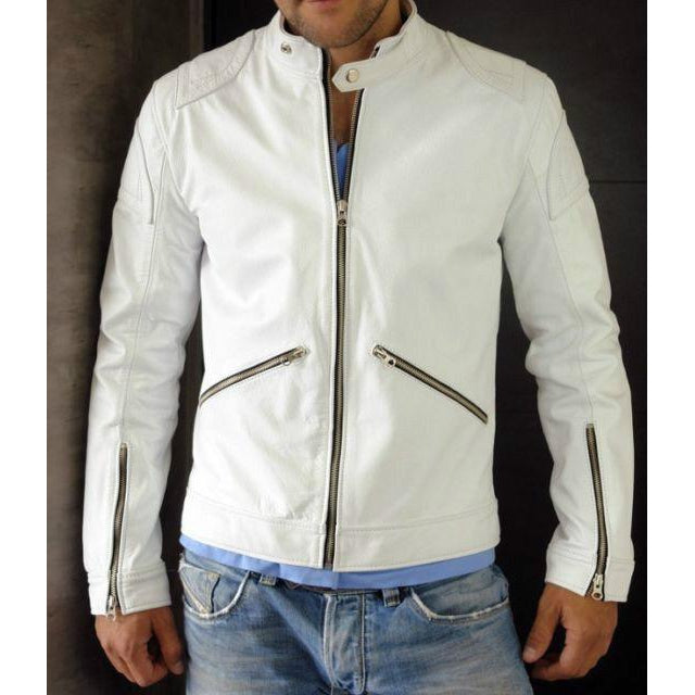 Men White Authentic Handmade Classic Real Leather Jacket