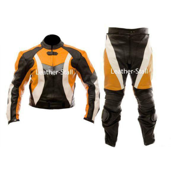 Leather Skin Stylish Orange & Black Biker Motorcycle Genuine Leather Jacket Trouser Suit