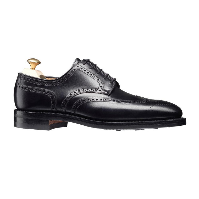 Men Black Derby Brogue Wingtip Genuine Leather Shoes black