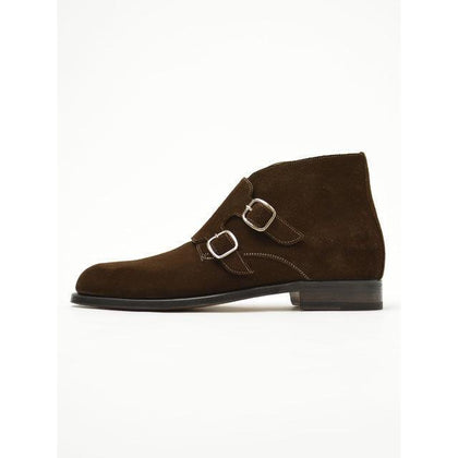 Men Brown Double Monk Chukka Suede Leather Boots