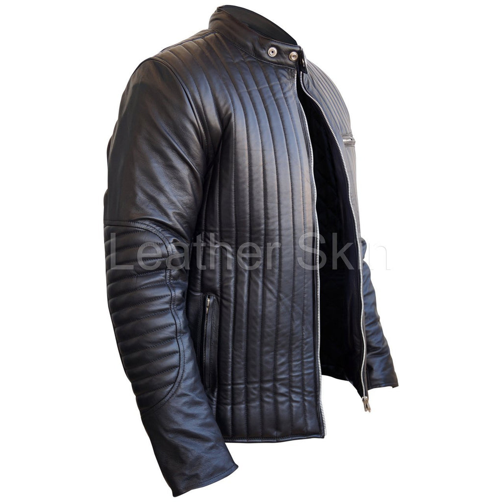 Leather Skin Men Black Rib Quilted Genuine Leather Jacket