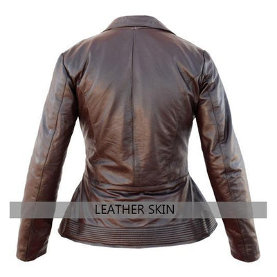 Leather Skin Brown Women Ladies with Open Chest Genuine Leather Jacket