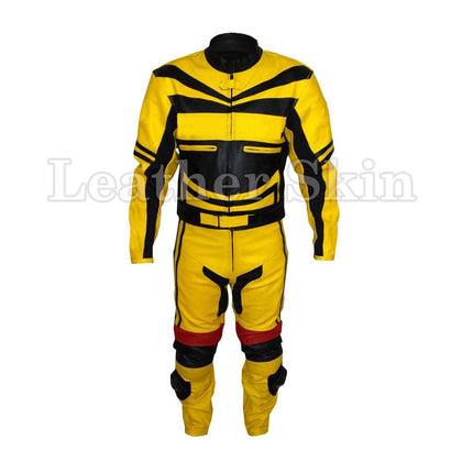 Leather Skin Yellow Biker Motorcycle Premium Genuine Leather Jacket Trouser Suit