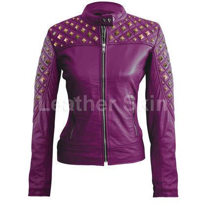 Leather Skin Women Purple Shoulder Quilted Rust Gold Stud Genuine Leather Jacket