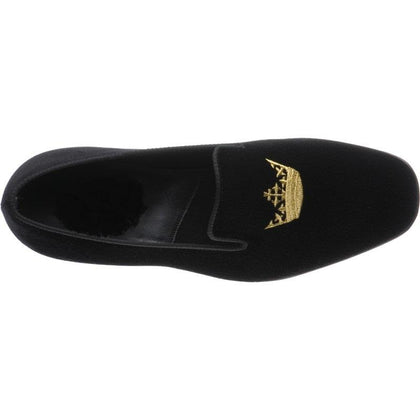 Men Black Velvet Loafer Slippers with Embroidery