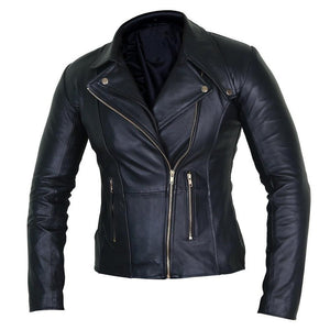Elegant Black Leather Biker Jacket for Women