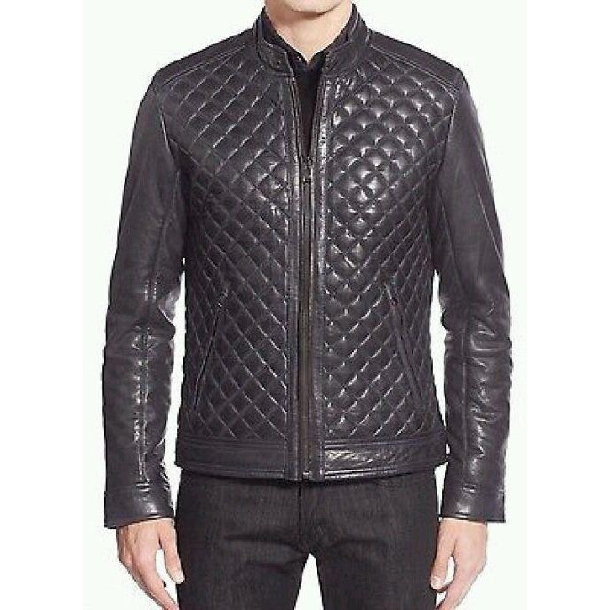 Men Black Authentic Handmade Diamond Quilted Real Leather Jacket