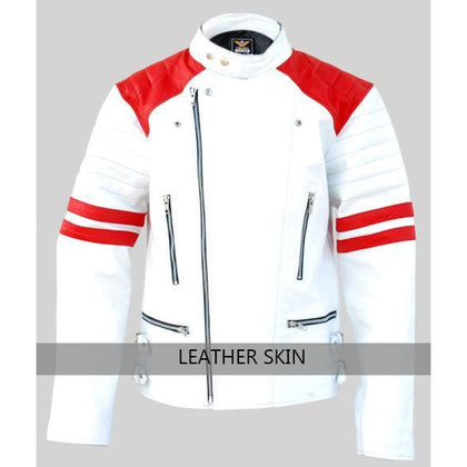 NWT White Men Mens with Red Patches Genuine Leather Jacket
