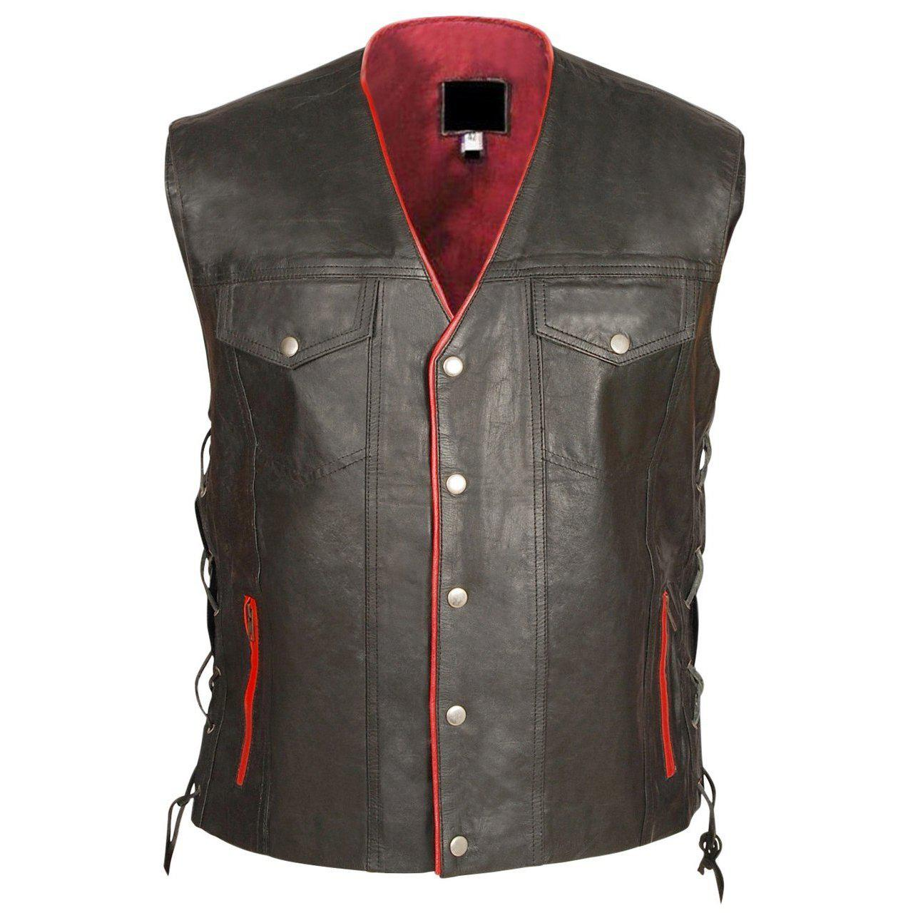 Leather Skin Mens Black Genuine Leather Vest with Red Lining