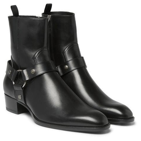 Men Black High Ankle Zipper Genuine Leather Boots
