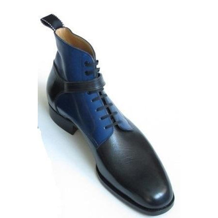 Men Black Blue Jodhpur Genuine Leather Boots