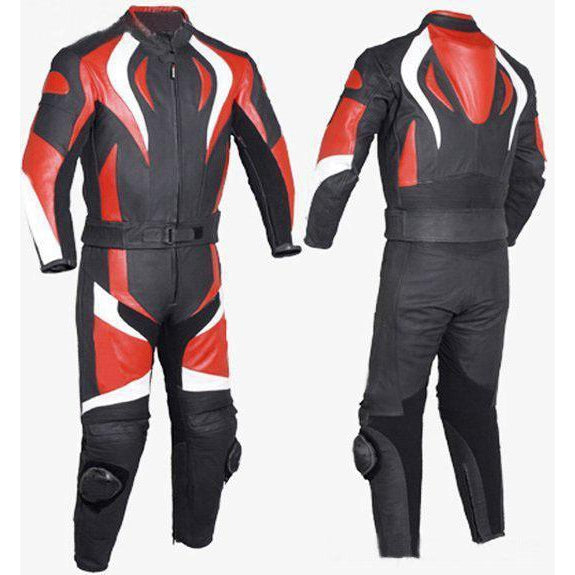 Red Fire Style Biker Motorcycle Genuine Leather Jacket Trouser Suit