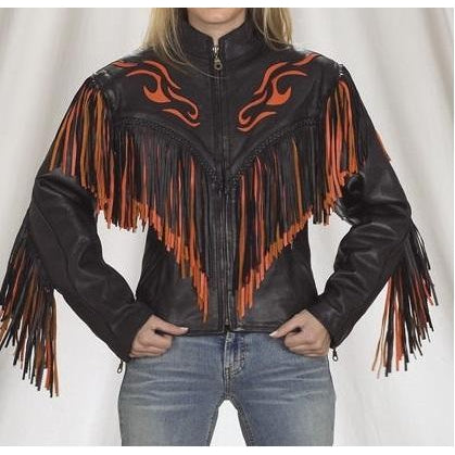 Leather Skin Women Black Western Cowboy Orange Fire Genuine Real Leather Jacket