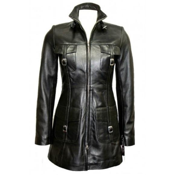 Leather Skin Women Black Genuine Real Leather Coat with Front Strap Pockets