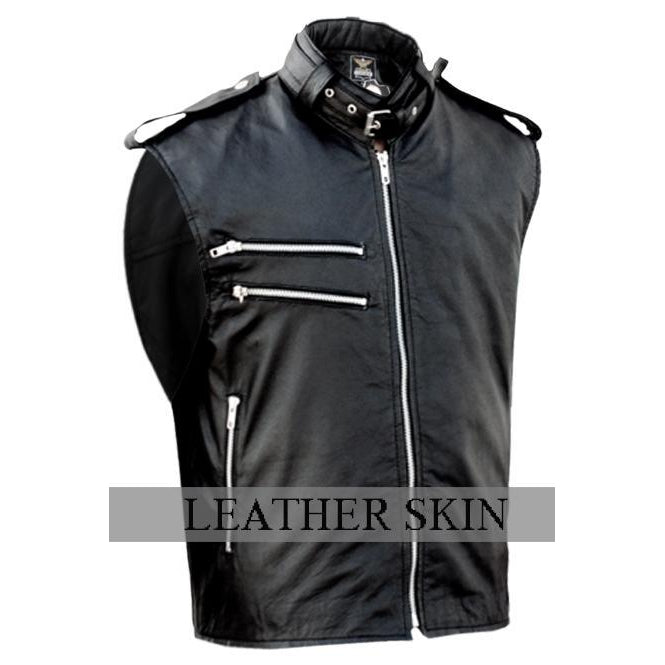 New Men Black Genuine Leather Vest with double chest YKK zippers - 100% Genuine Leather