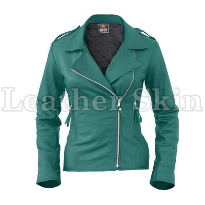 Women Sea Green Brando Leather Jacket