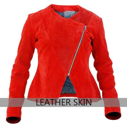 NWT Red Women Ladies Genuine Leather Jacket - 100% Genuine Leather