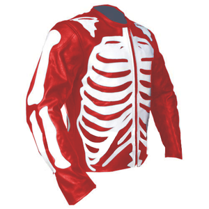 Men Red Skeleton Biker Motorcycle Genuine Leather Jacket with Free CE Armors