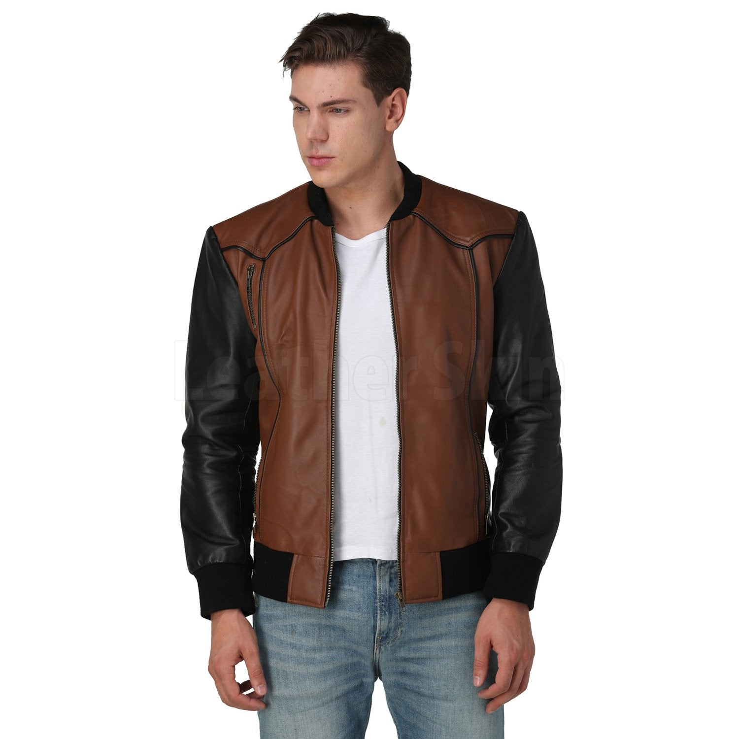Justin Bomber Brown Leather Jacket