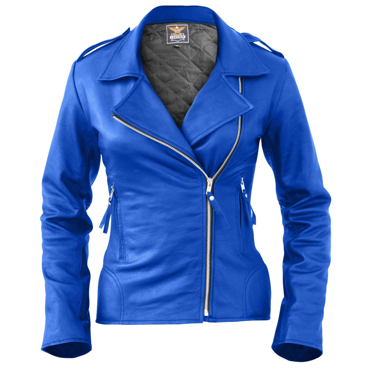 Leather Skin Women Blue Brando Genuine Leather Jacket