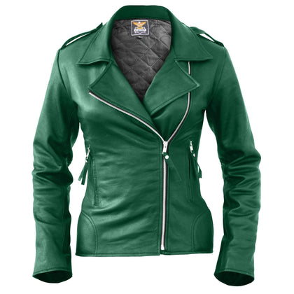 Leather Skin Women Green Brando Genuine Leather Jacket