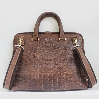 Quintessential Crocodile Style Genuine Leather Handbag for Men