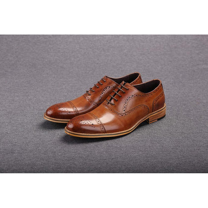 Men Brown Oxford Brogue Genuine Leather Formal Shoes