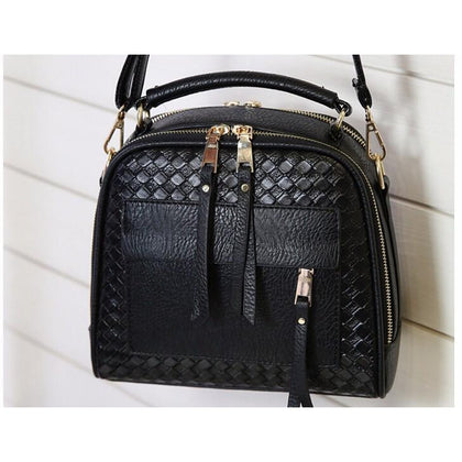 Women Black Diamond Quilted Leather Tote Messenger Handbag Front