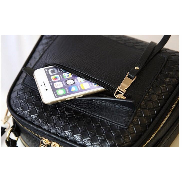 Women Black Tote Messenger Handbag Slit Pocket Apple IPHONE