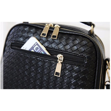 Women Black Diamond Quilted Leather Tote Messenger Handbag Slit Pocket