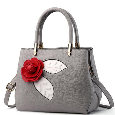 Women Light Grey Tote Messenger Handbag with Flower Front Side