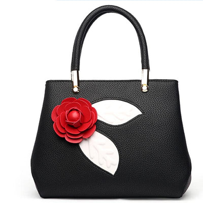 Women Black Color Tote Messenger Handbag with Flower Front Side
