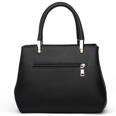 Women Black Tote Messenger Handbag Back Side with Slit Zipper Pocket