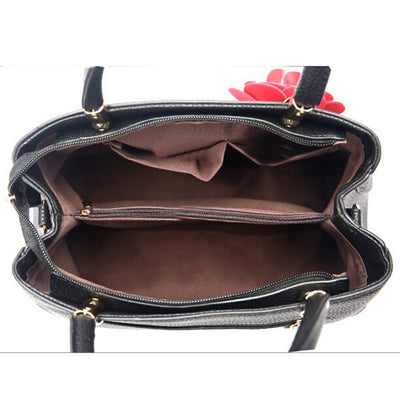 Women Black Tote Messenger Handbag Inside View of Polyester Lining Compartments Empty Bag