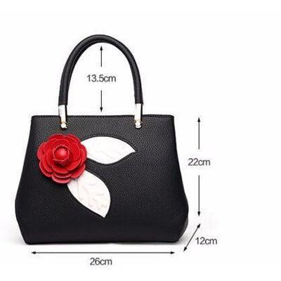 Women Black Tote Messenger Handbag with Flower Dimensions 26cm x 22cm x 12cm