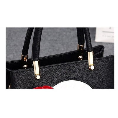 Women Black Tote Messenger Handbag Handle Gold Clips