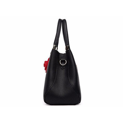 Women Black Tote Messenger Handbag Side View
