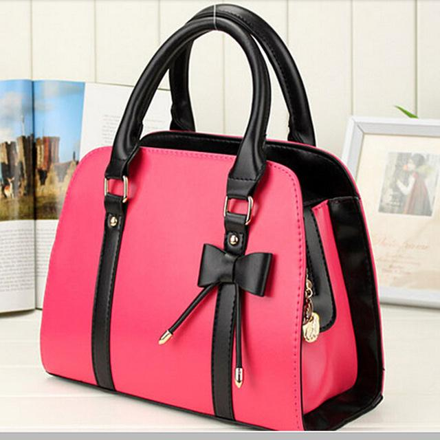Women Rose Tote Leather Handbag with Attractive Designer Bow