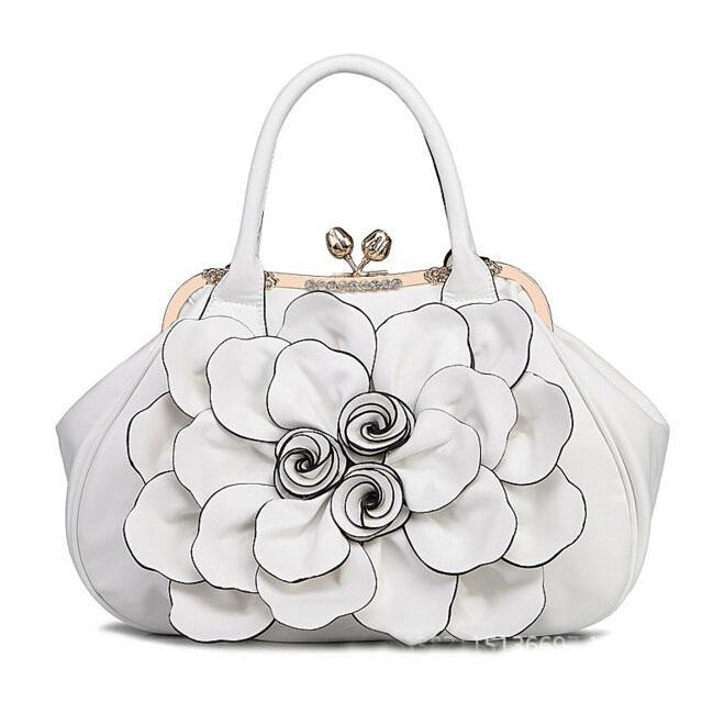 Women White Tote Leather Handbag with Floral Design