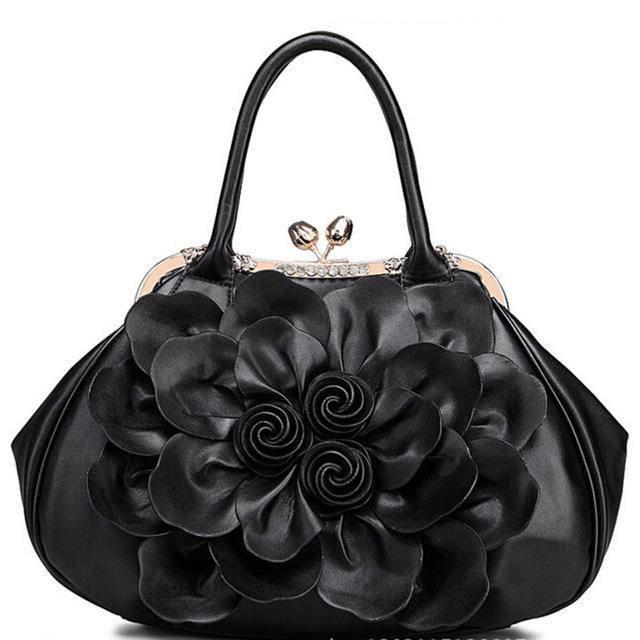 Women Black  Tote Leather Handbag with Floral Design