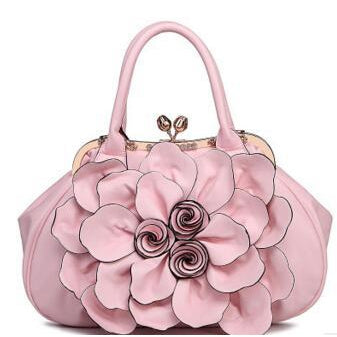 Women Pink Tote Leather Handbag with Floral Design