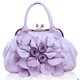 Women Purple Tote Leather Handbag with Floral Design Front