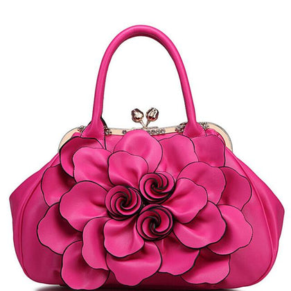 Women Rose Tote Leather Handbag with Floral Design