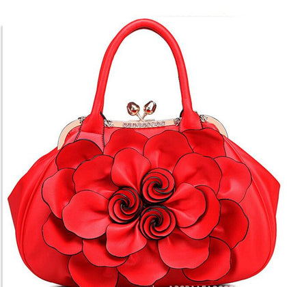 Women Red Tote Leather Handbag with Floral Design