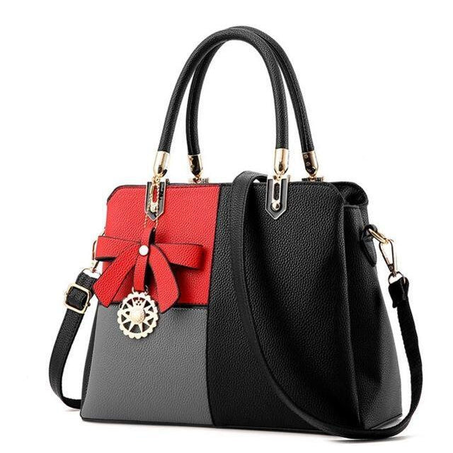 Three Color Combo Faux-Leather Tote Shoulder Bag with a Solar Symbol Tassel