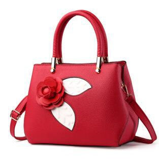 Women Red Tote Messenger Handbag with Flower Front Side