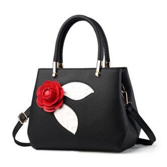 Women Black Tote Messenger Handbag with Flower Front Side