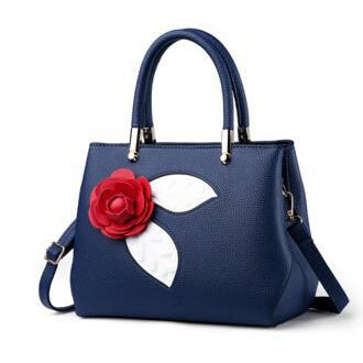 Women Navy Blue Tote Messenger Handbag with Flower Front Side