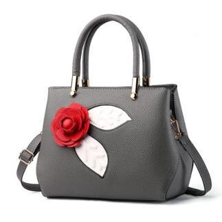 Women Dark Grey Tote Messenger Handbag with Flower Front Side